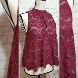love, Fire Women Blouse Sz S NWT Burgundy Lace